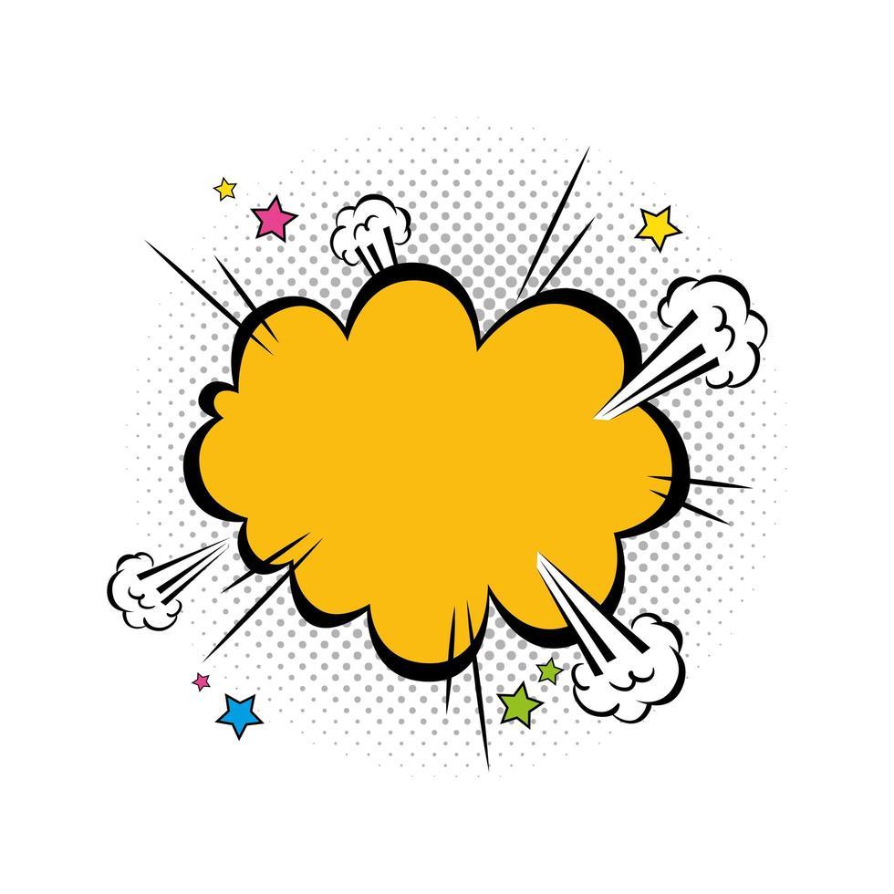 icône de style pop art couleur jaune explosion de nuage vecteur
