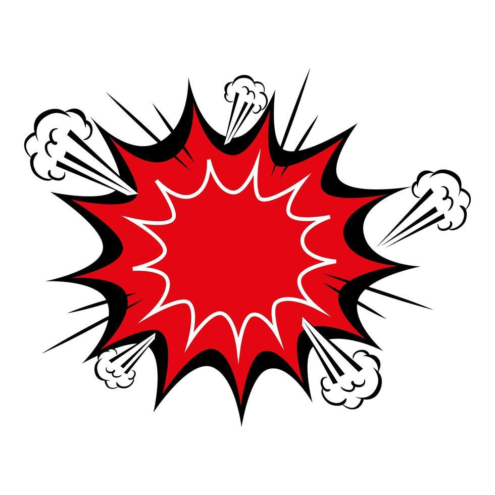 icône de style pop art couleur rouge explosion vecteur
