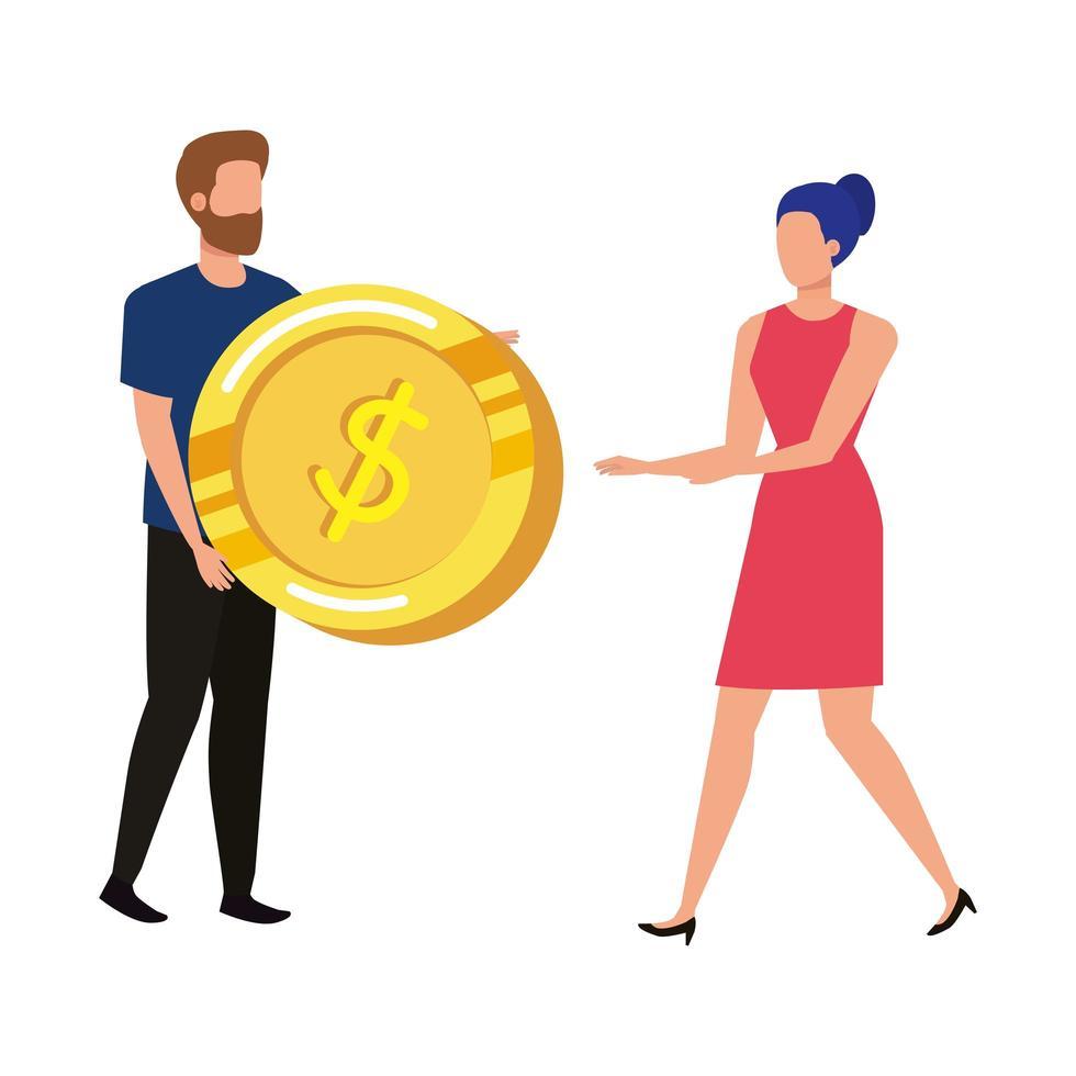 jeune couple, à, pièces, argent, avatars, caractères vecteur