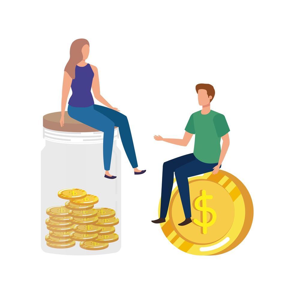 jeune couple, à, pièces, argent, dans, pot mason vecteur