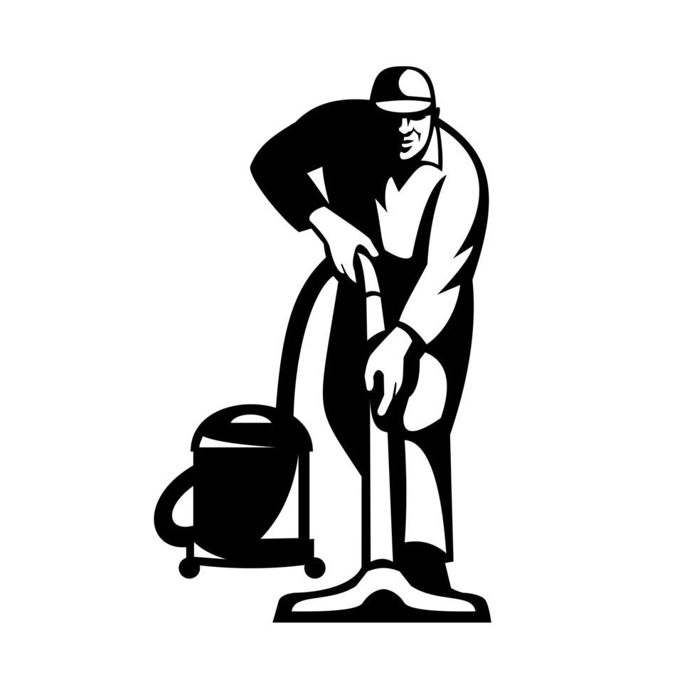 Nettoyeur nettoyeur aspirateur nettoyage avec aspirateur rétro noir et blanc vecteur