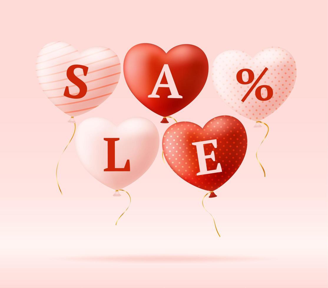 mot d'amour et vente sur des coeurs réalistes. carte de la Saint-Valentin avec des coeurs roses et rouges et des lettres d'amour. concept de vente ou de remise illustration vectorielle vecteur