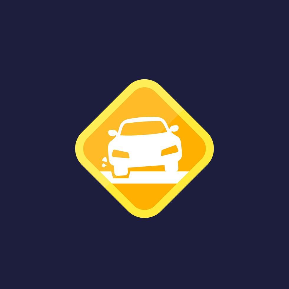 icône de nid de poule avec une voiture, signe de vecteur
