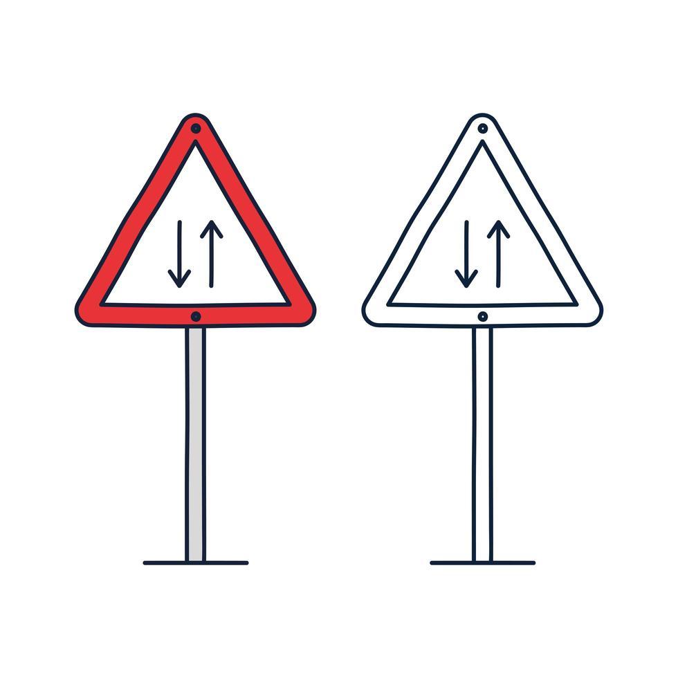 illustration vectorielle du panneau de signalisation triangle pour les deux sens. Symbole de route de circulation bidirectionnelle en triangle rouge isolé sur blanc vecteur