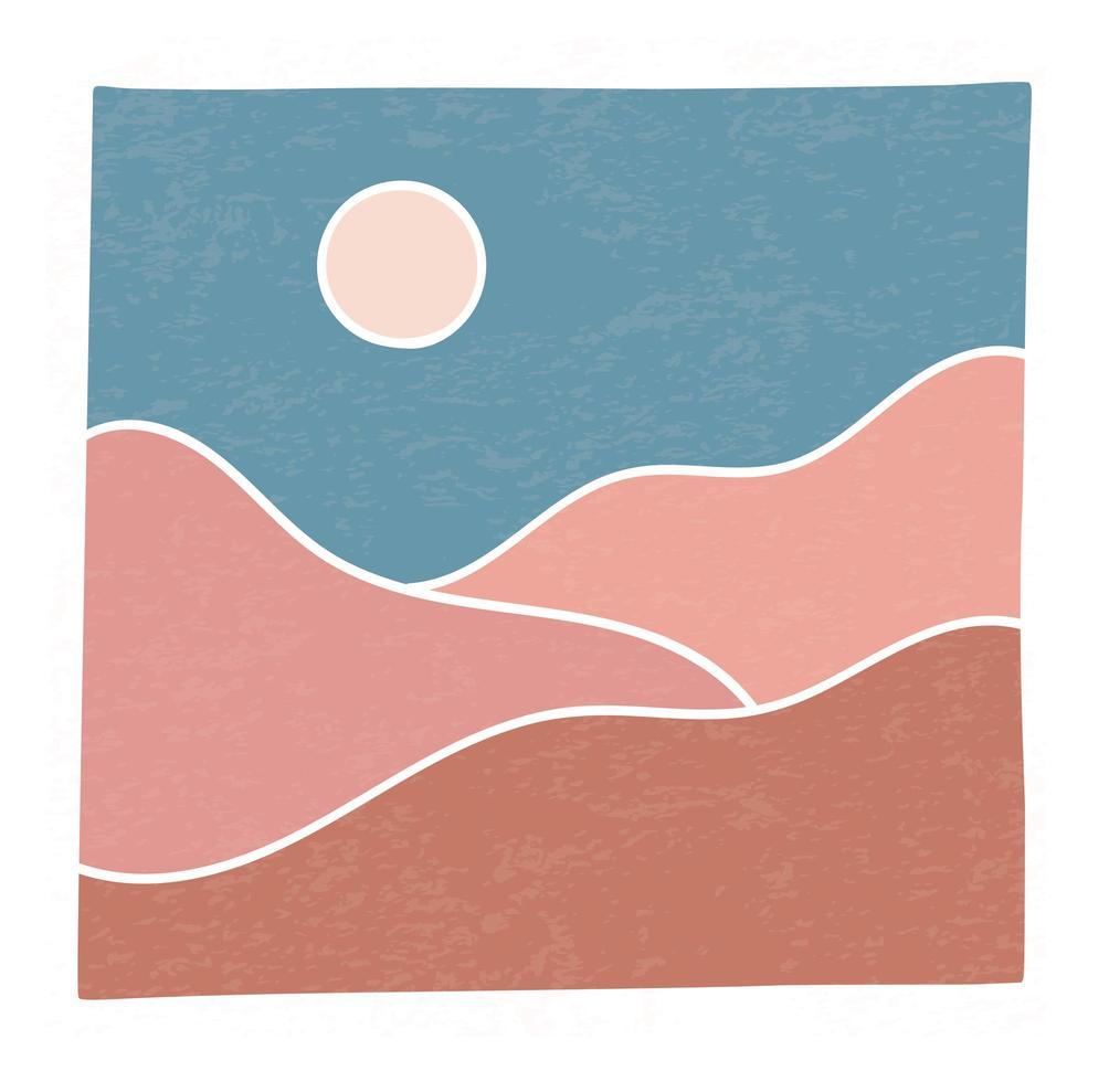 Paysage minimaliste branché abstrait montagnes contemporaines désert coucher de soleil mur art affiche conception illustration vectorielle vecteur