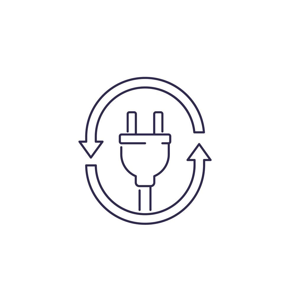 icône de prise électrique avec des flèches, vecteur de ligne