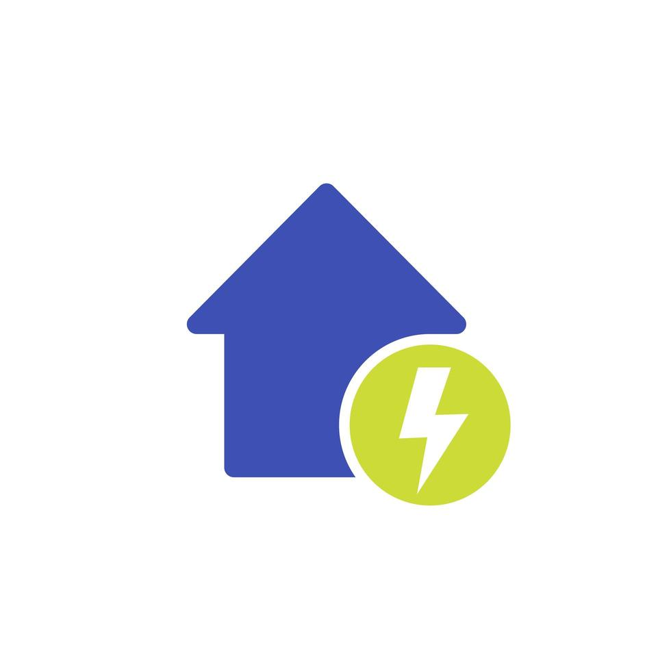 icône d & # 39; électricité avec maison sur blanc vecteur