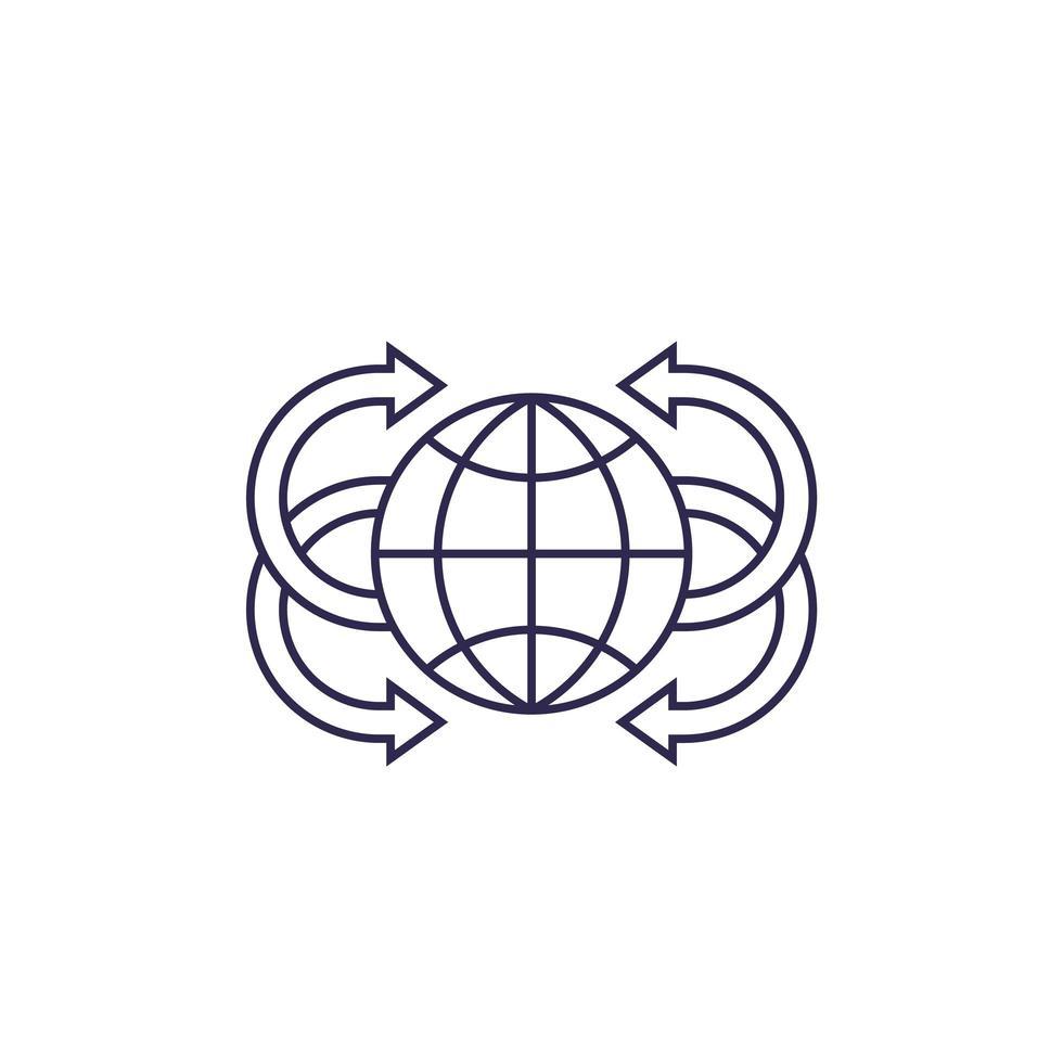 globe avec icône de ligne vecteur flèches