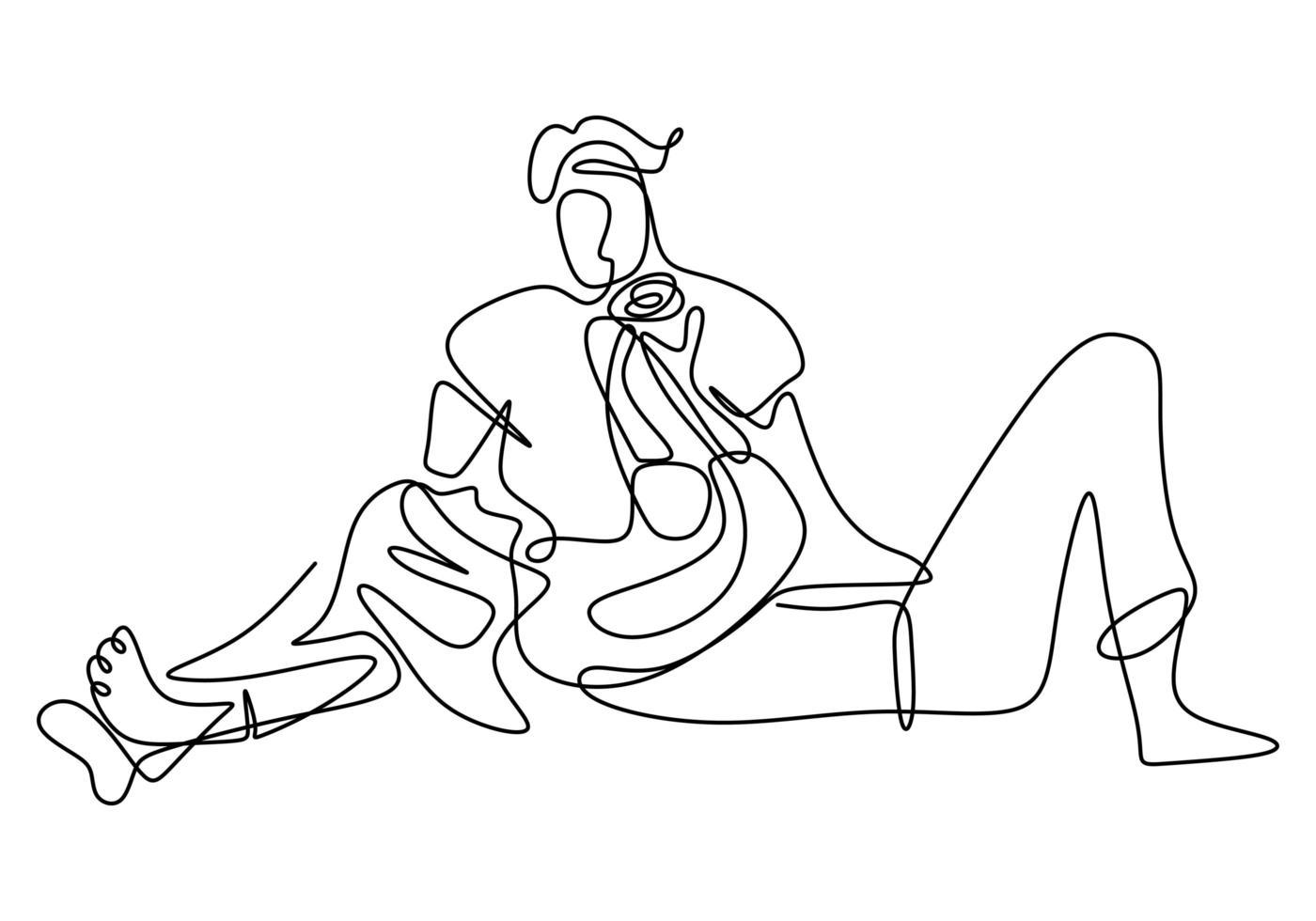 dessin au trait continu, vecteur de couple amoureux. conception de minimalisme avec simplicité dessinés à la main isolé sur fond blanc.