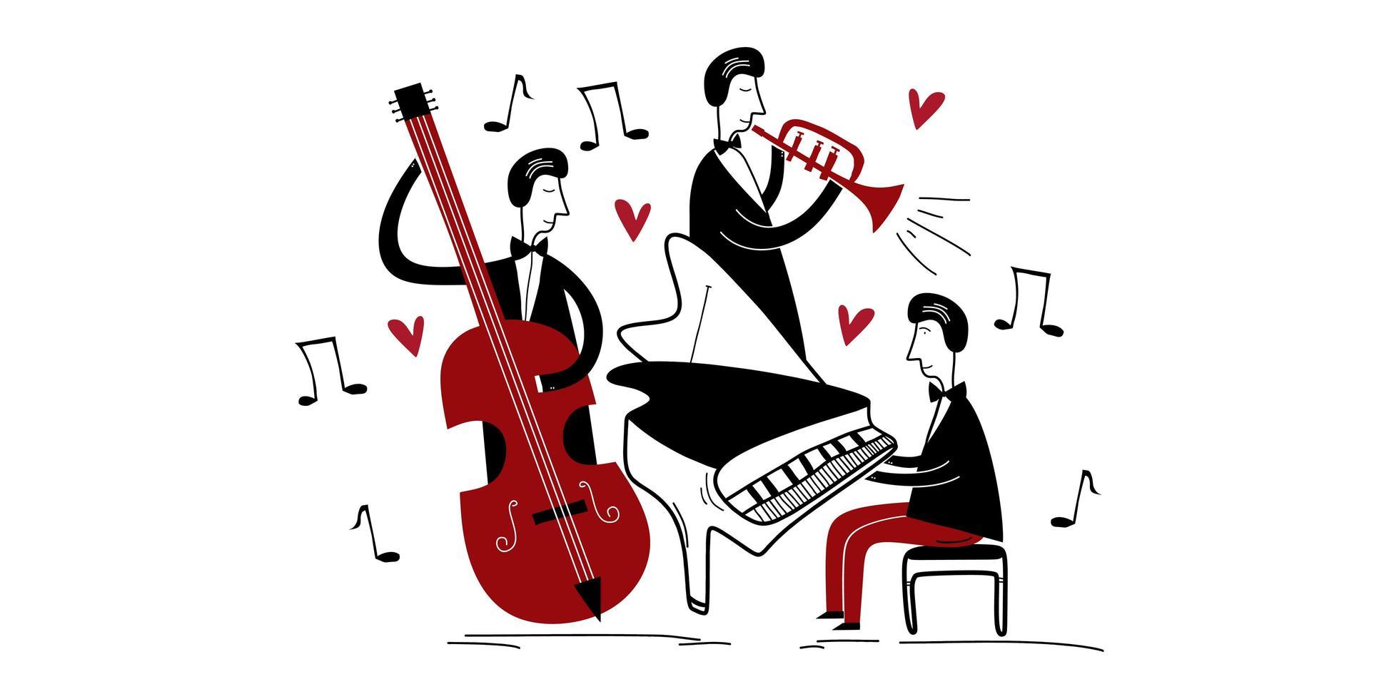 festival de musique jazz band. trois joueurs de jazz jouant de la musique de groupe dans un vecteur plat isolé de concert. pianiste jouant du piano, de la trompette et du violoncelle. style de dessin animé créatif.