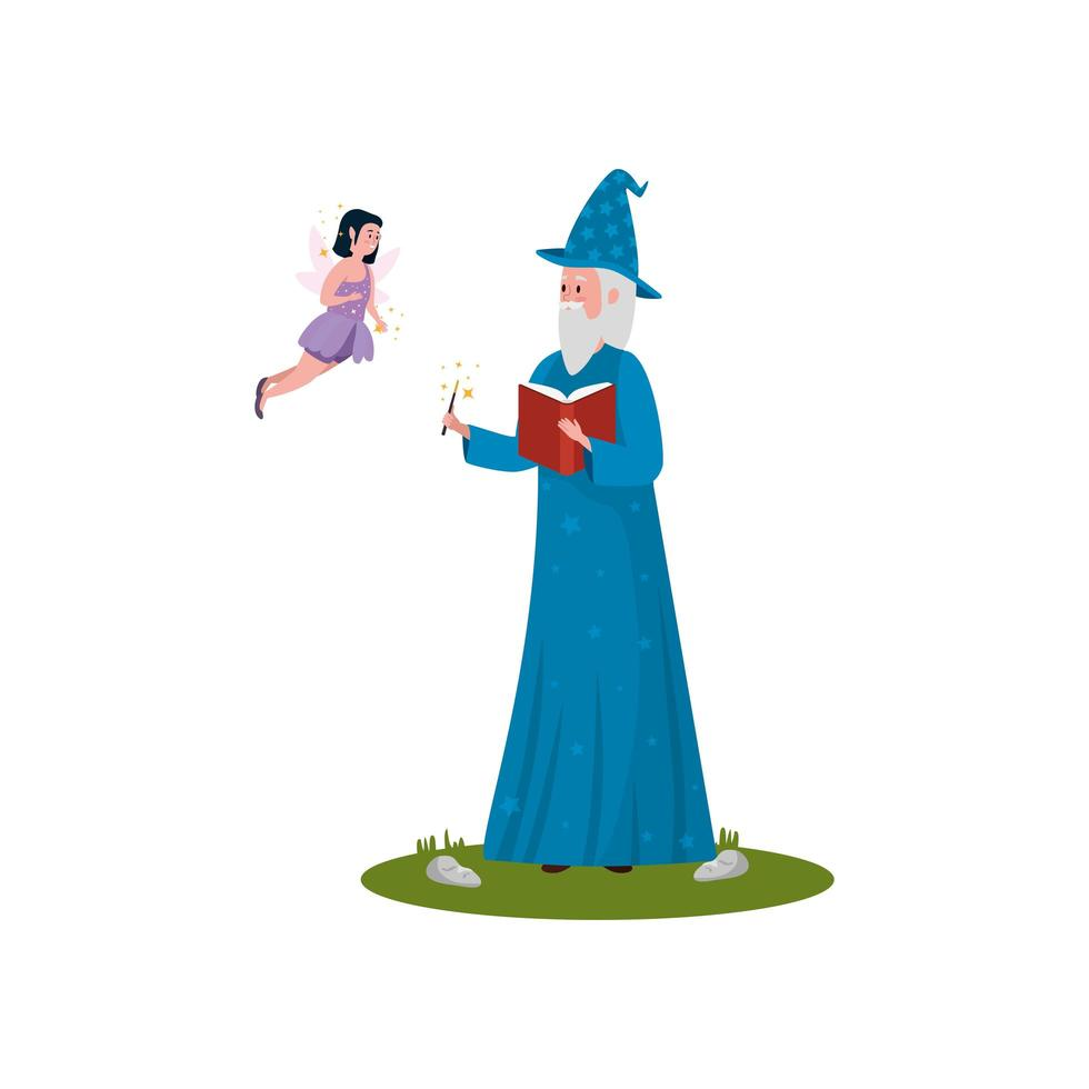 assistant avec personnage avatar volant fée vecteur