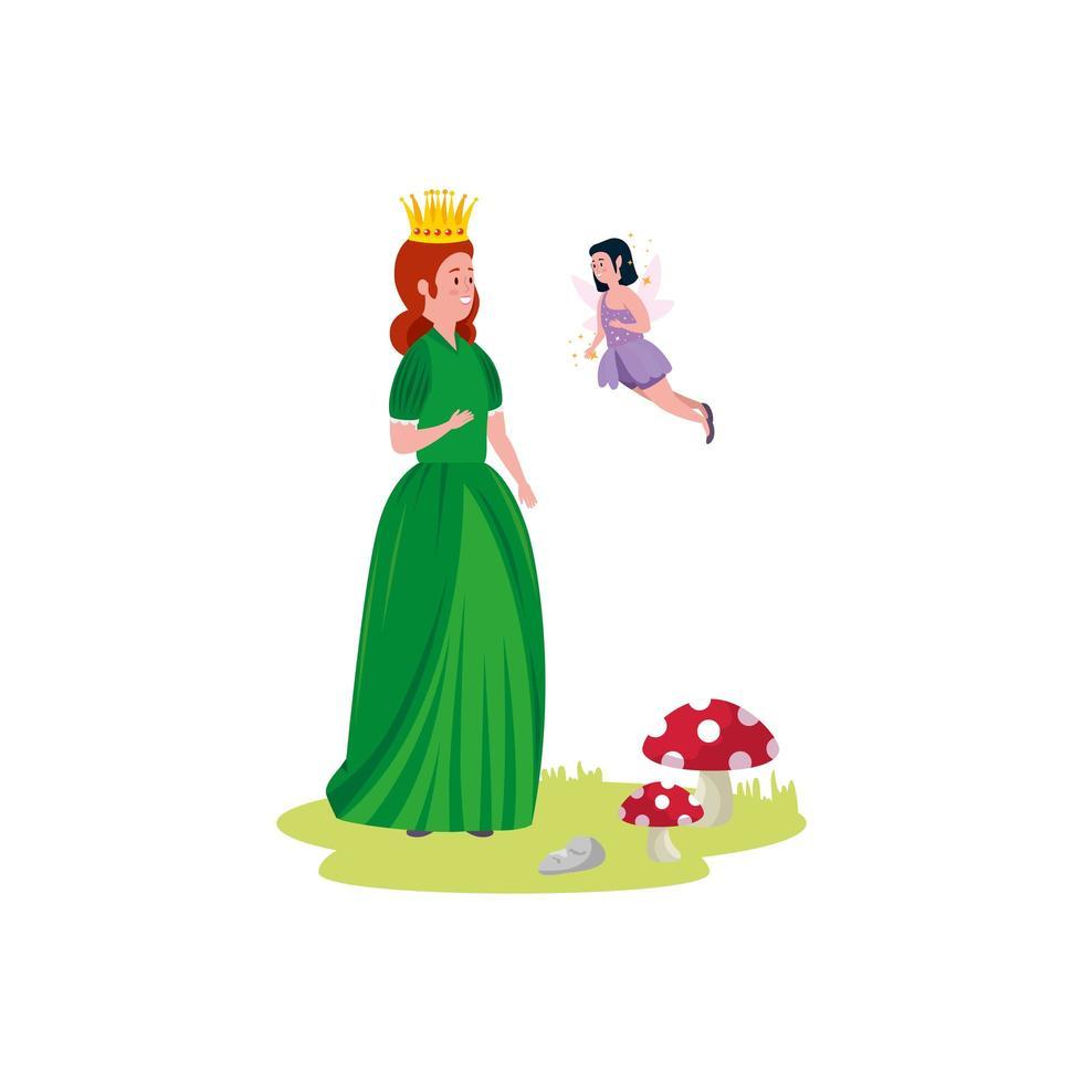 belle princesse avec personnage avatar de fée vecteur