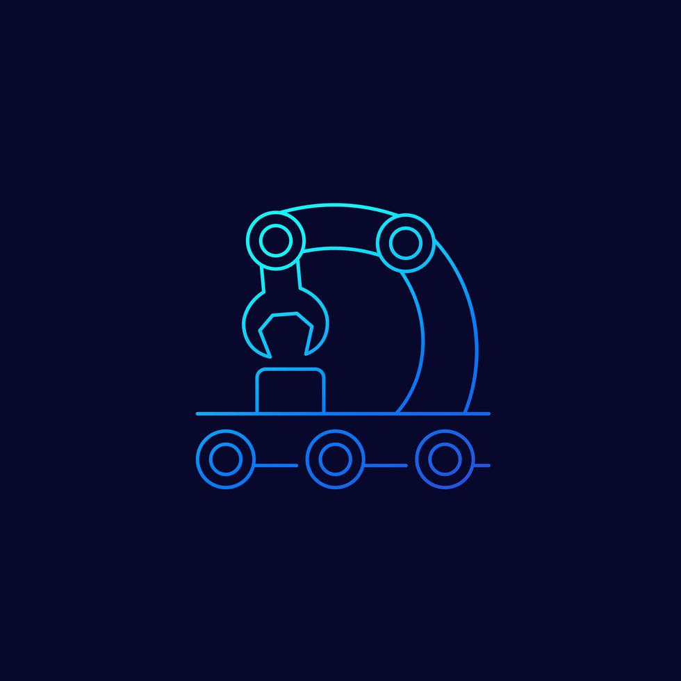 Convoyeur, icône de la ligne de montage, linéaire vecteur