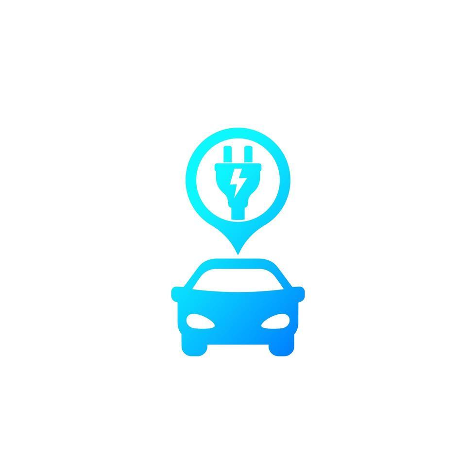 voiture électrique et prise, icône de vecteur