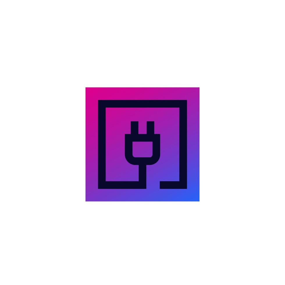 prise électrique en carré, logo vectoriel