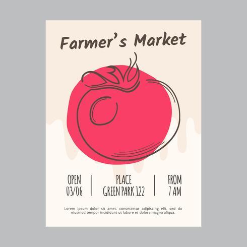 Modèle de Flyer de marché des agriculteurs vecteur