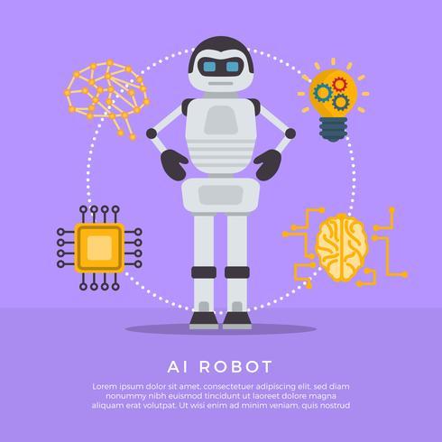 Illustration vectorielle de Flat AI Robot vecteur