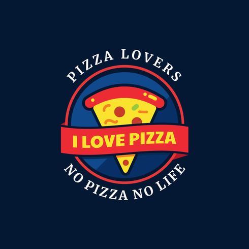 Badge de typographie des amateurs de pizza vecteur