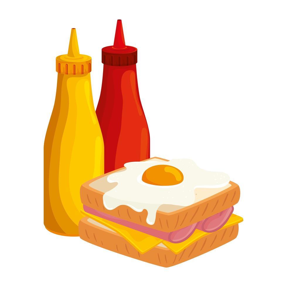 délicieux sandwich avec des bouteilles sauces icône isolé vecteur