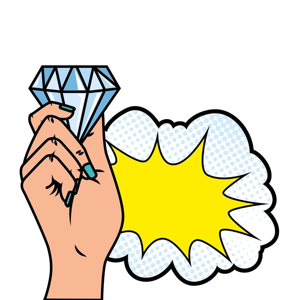 main avec icône de style pop art diamant et nuage vecteur