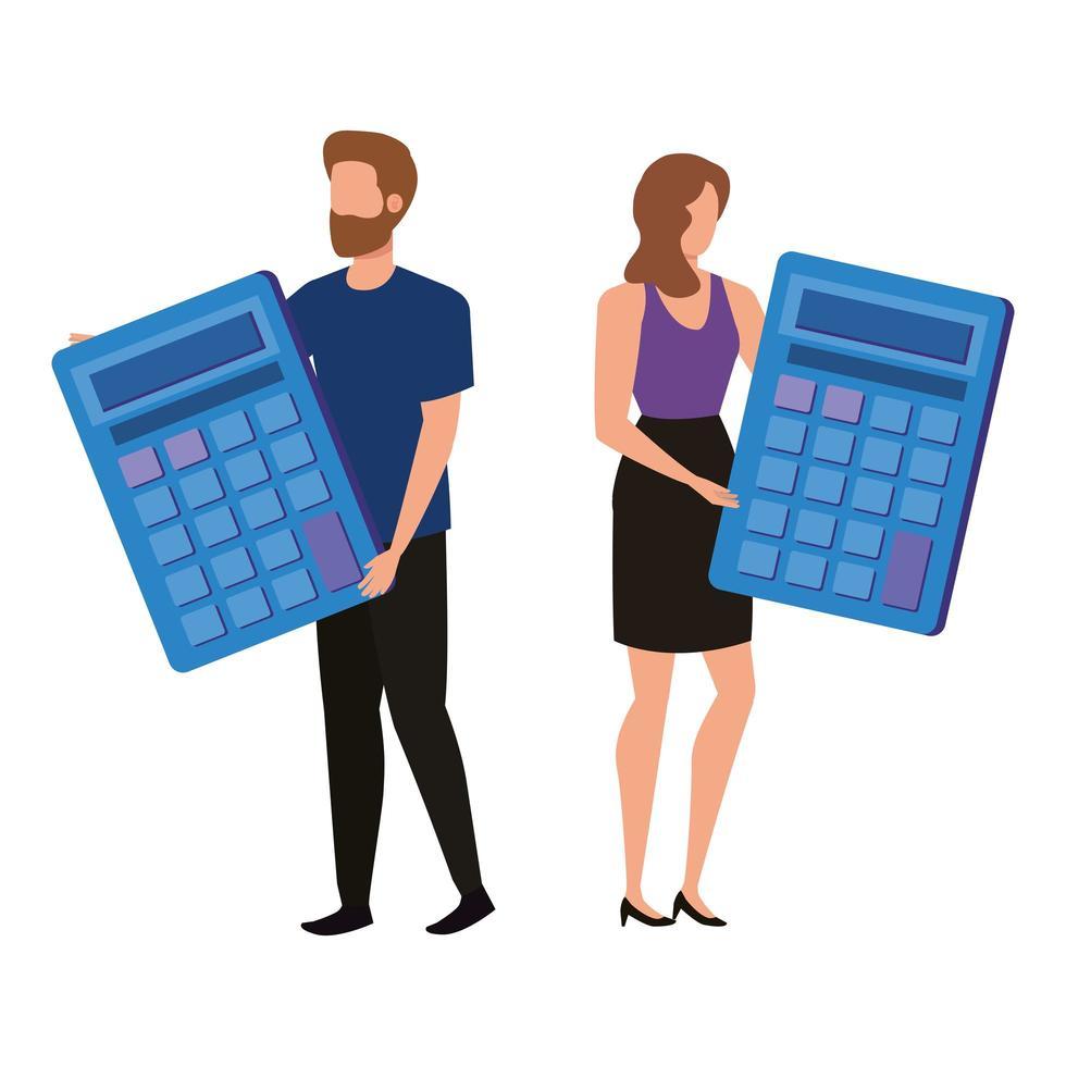 jeune couple avec des caractères de calculatrices vecteur