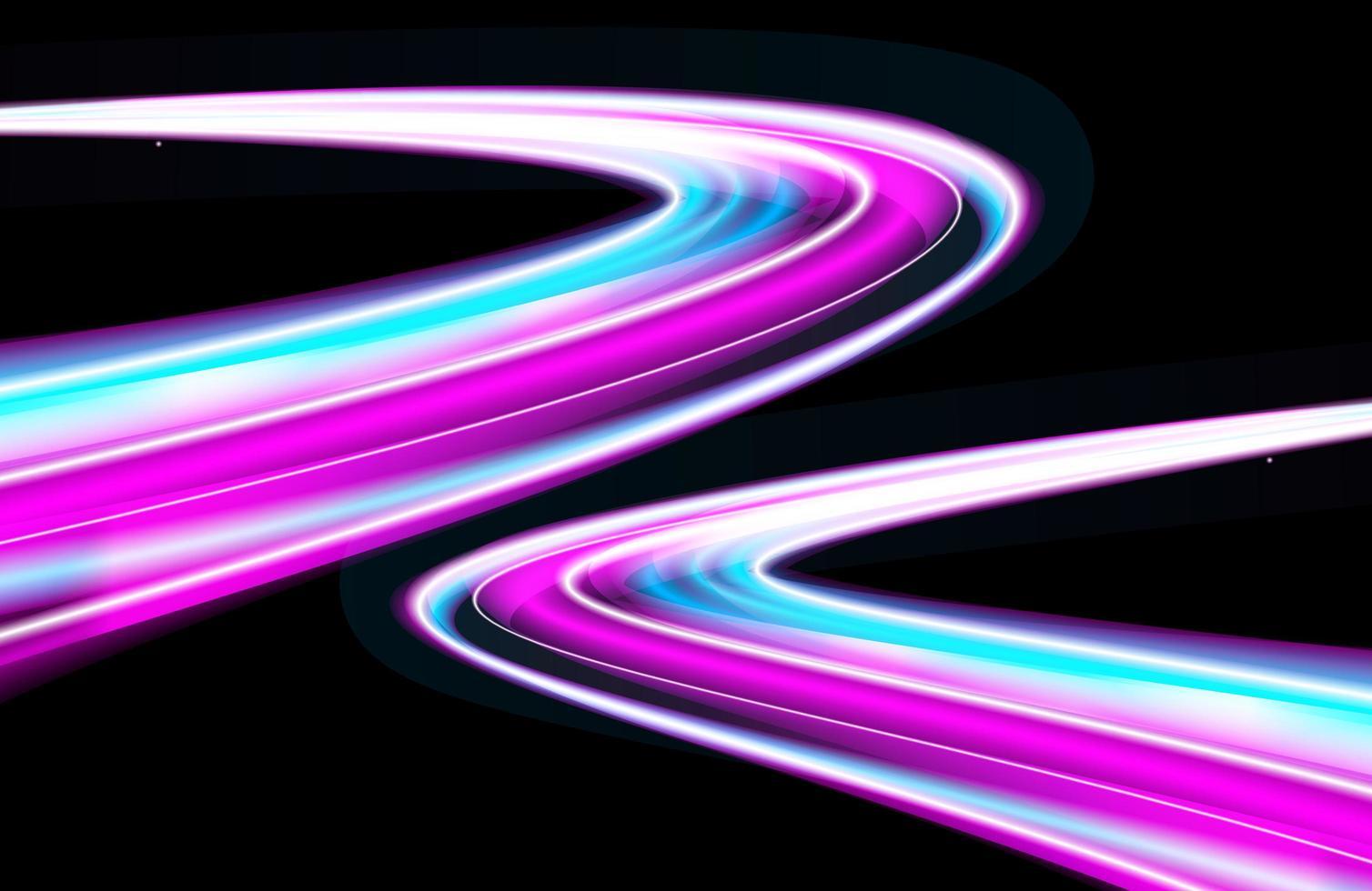 simulation de néon futuriste d'exposition longue au trafic nocturne vecteur