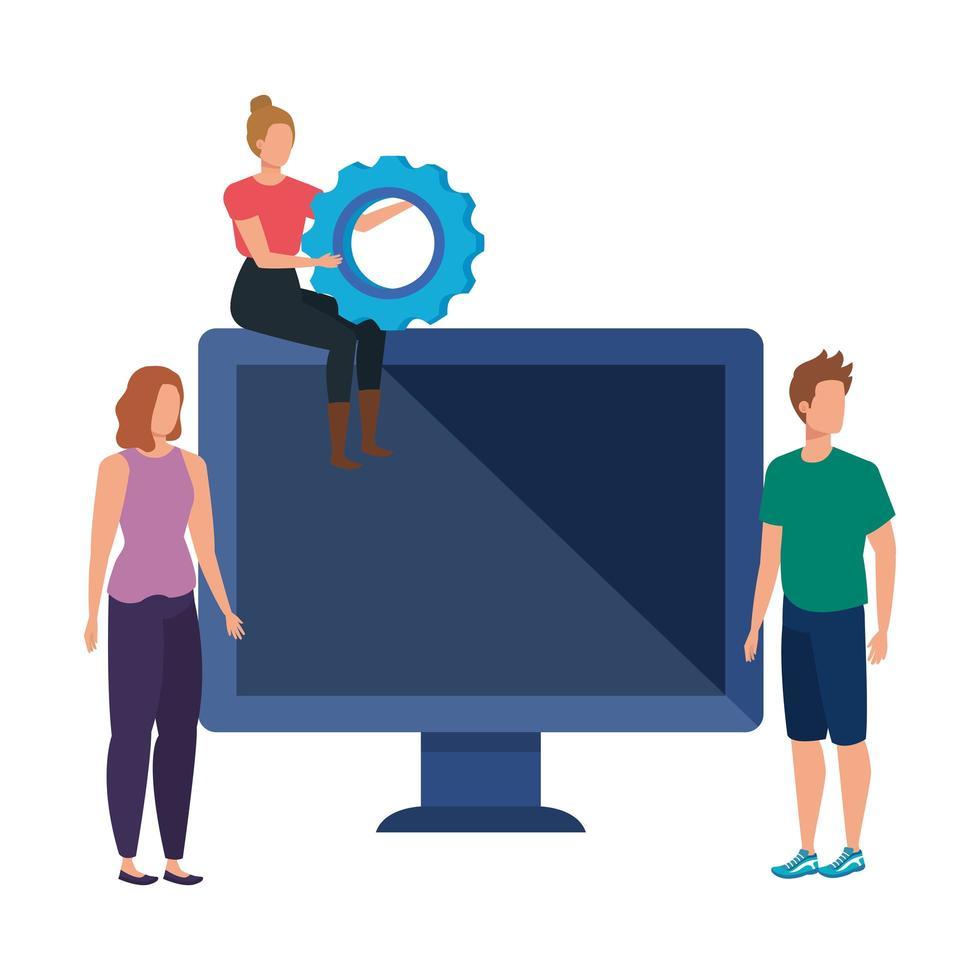 groupe de personnes avec ordinateur de bureau vecteur