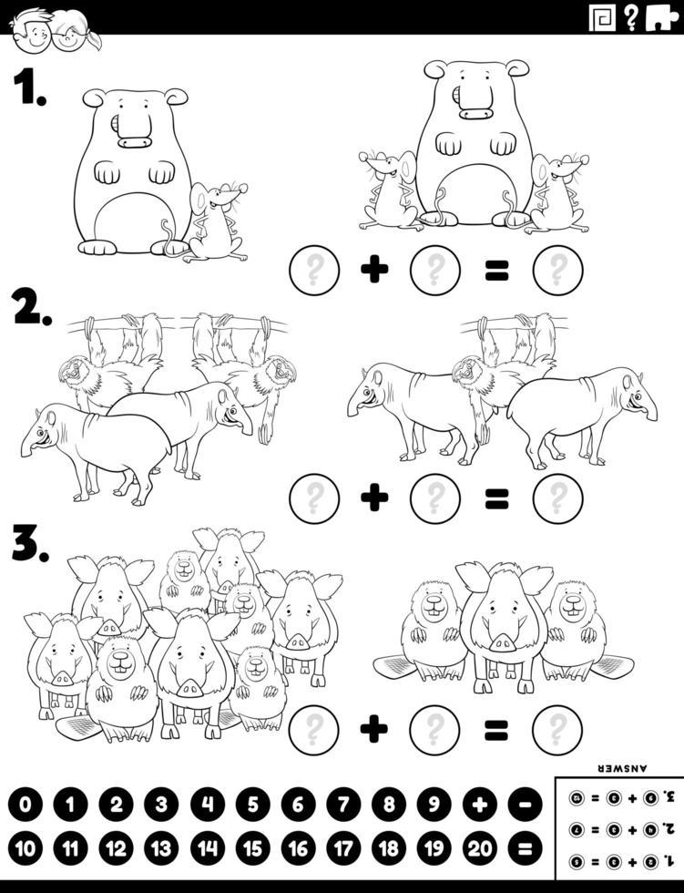 tâche éducative supplémentaire de mathématiques avec des animaux de bande dessinée vecteur