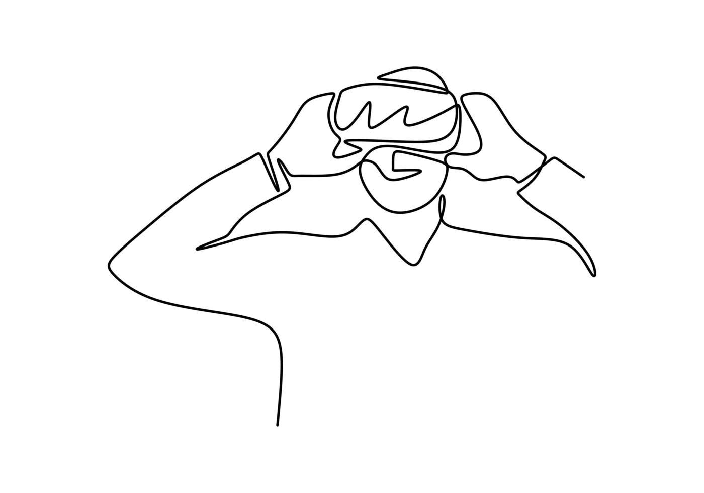 une ligne de dessin continu homme dans la réalité virtuelle de l'appareil de lunettes, simplicité d'illustration vectorielle. minimalisme technologie future électronique dessinée à la main. vecteur