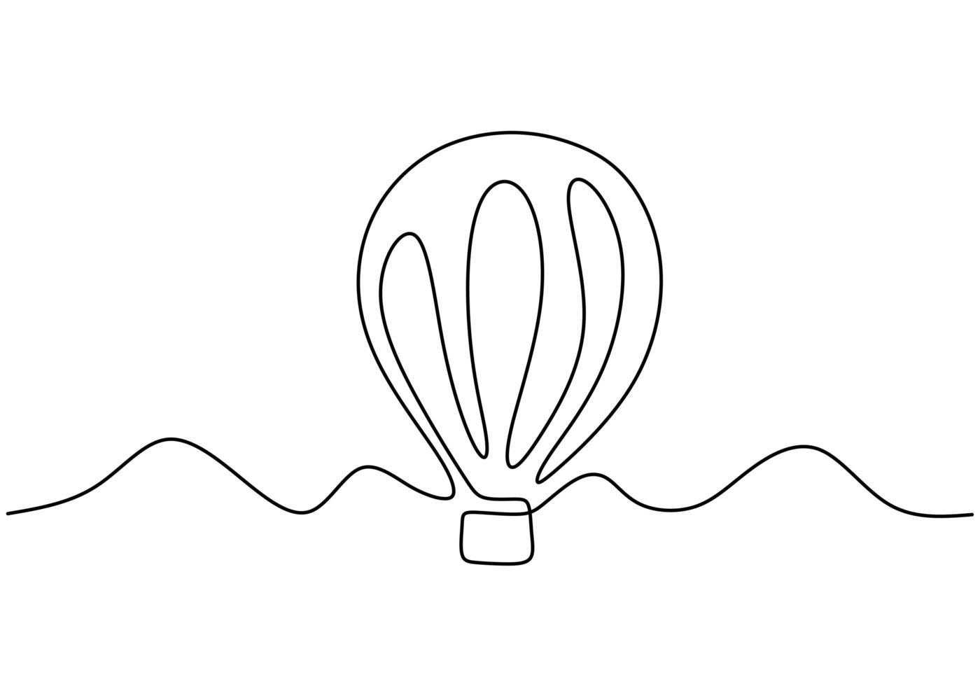 aérostat d'illustration vectorielle. illustration de ballon à air de style continu à une ligne, concept de voyage créatif minimalisme vecteur