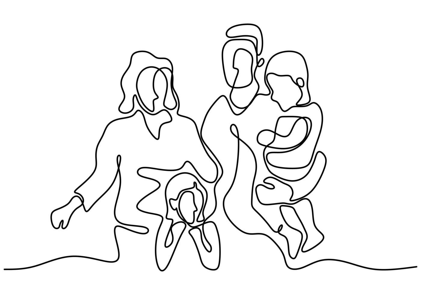 dessin au trait continu du père de famille heureuse, de la mère et de deux enfants jouant. marcher dans l'aire de jeux pour jouer avec les enfants. heureux ensemble. illustration vectorielle vecteur