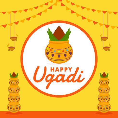 Fond de vecteur Ugadi heureux