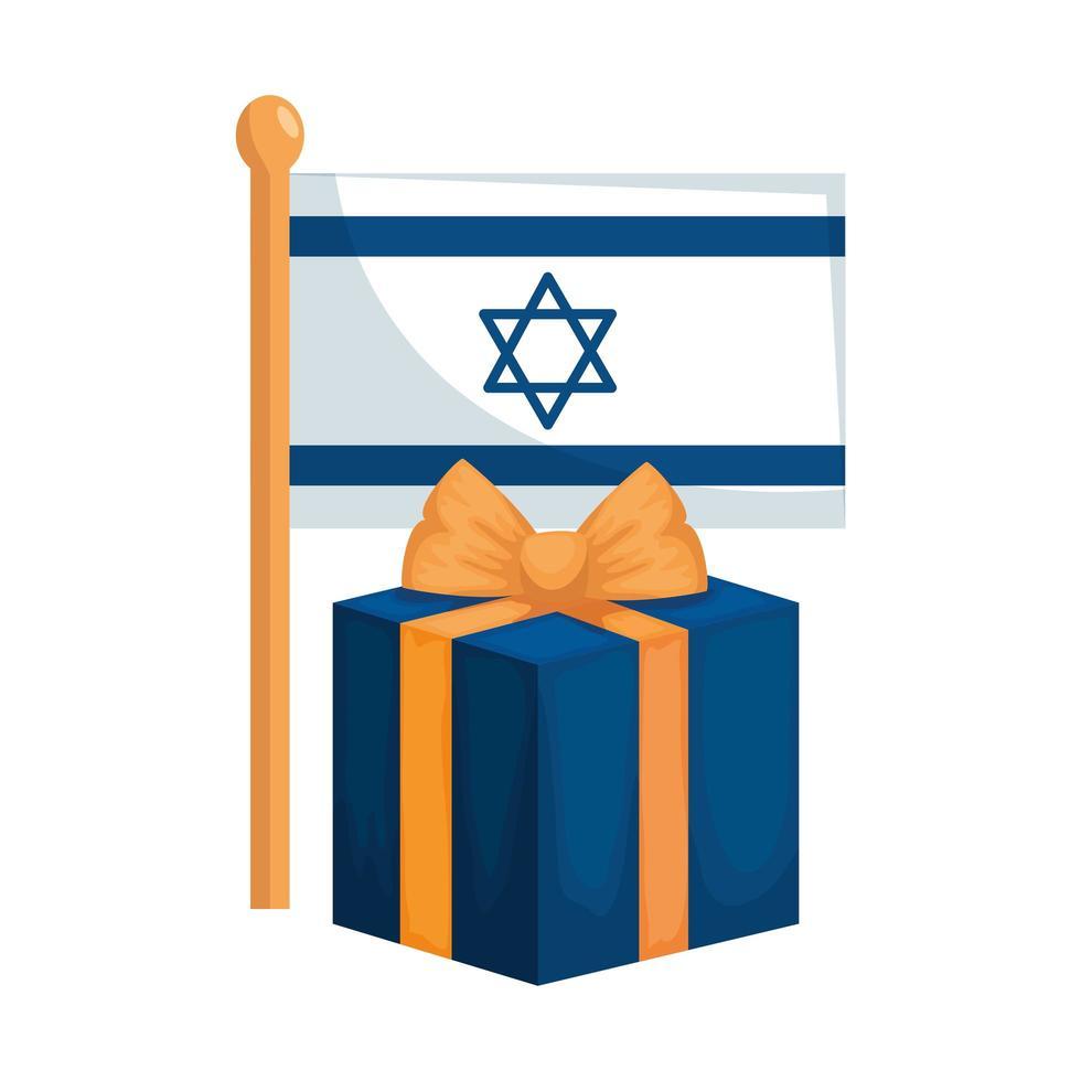 drapeau israël avec icône isolé boîte cadeau vecteur