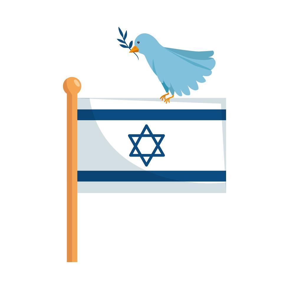 drapeau israël et oiseau avec icône isolé de branche vecteur