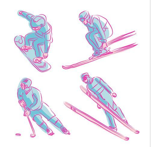 Sport d'hiver olympique dessinés à la main symbole Vector Illustration