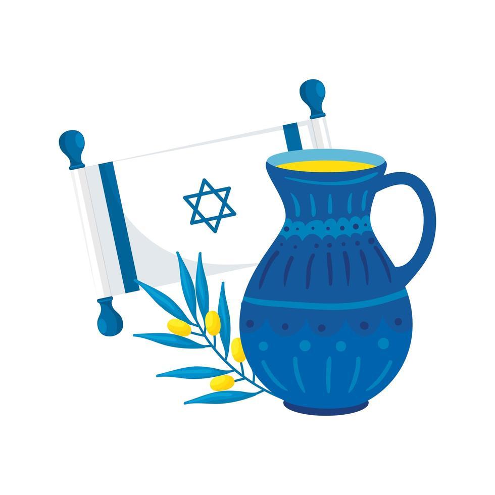 drapeau israël avec cuisine et rameau d'olivier vecteur