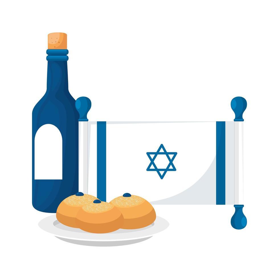 bouteille de vin avec drapeau israël et pains vecteur