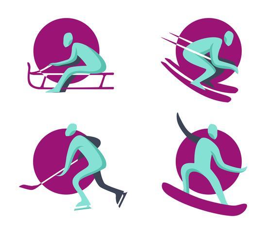 Collection de plat de logo olympique de sports d'hiver vecteur