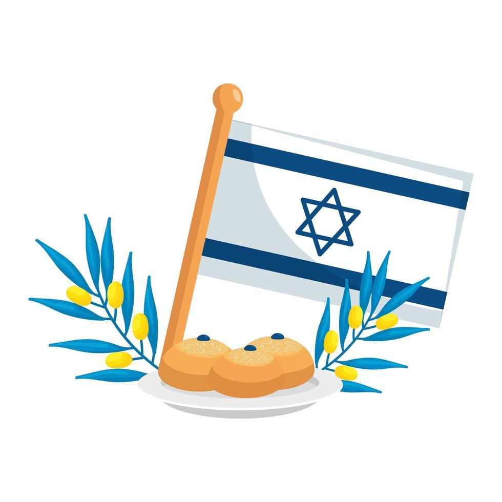drapeau israël avec du pain et des branches vecteur