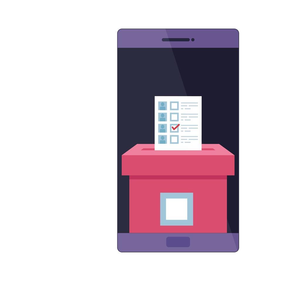 smartphone pour vote icône isolé en ligne vecteur