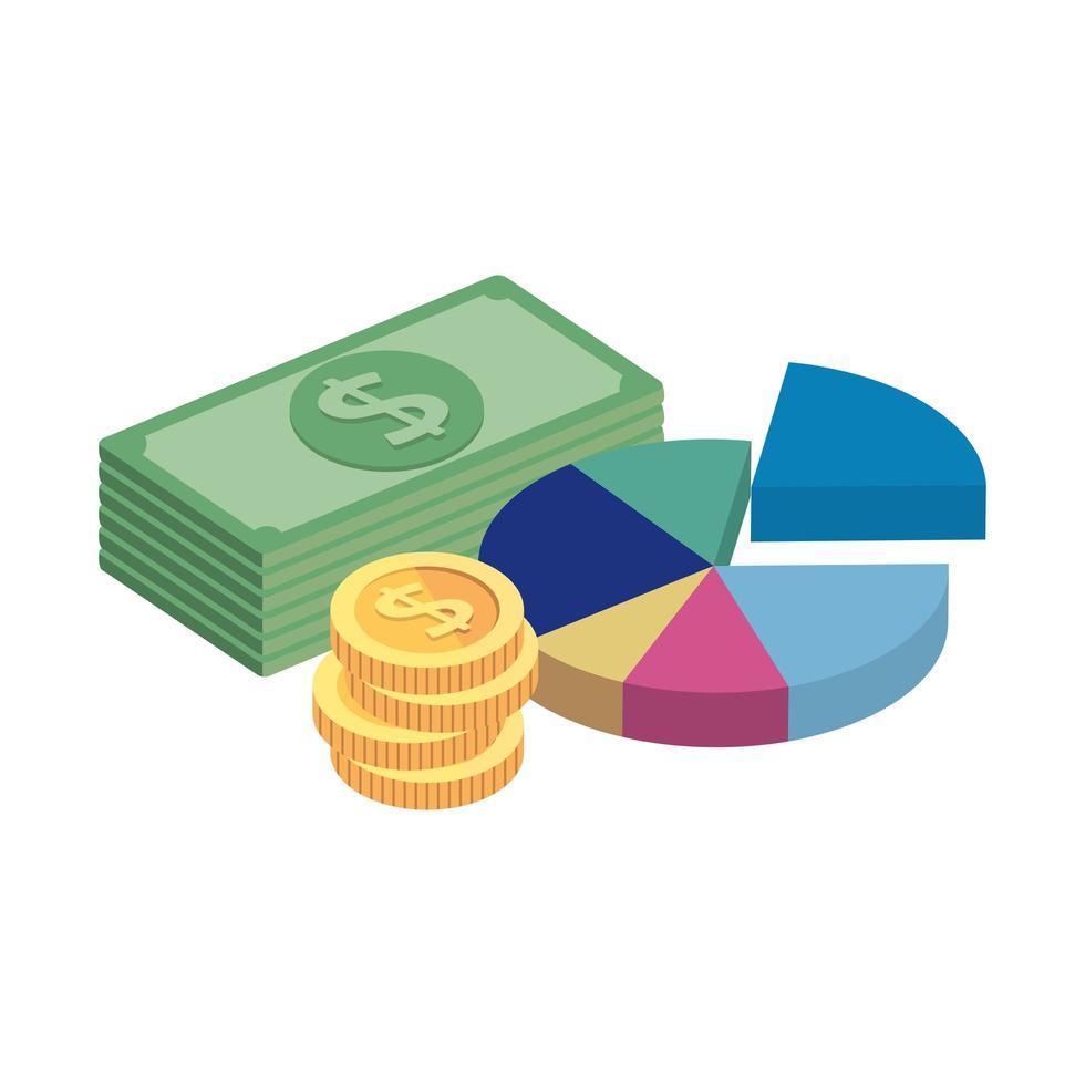 empiler des factures avec des statistiques et des pièces de monnaie vecteur