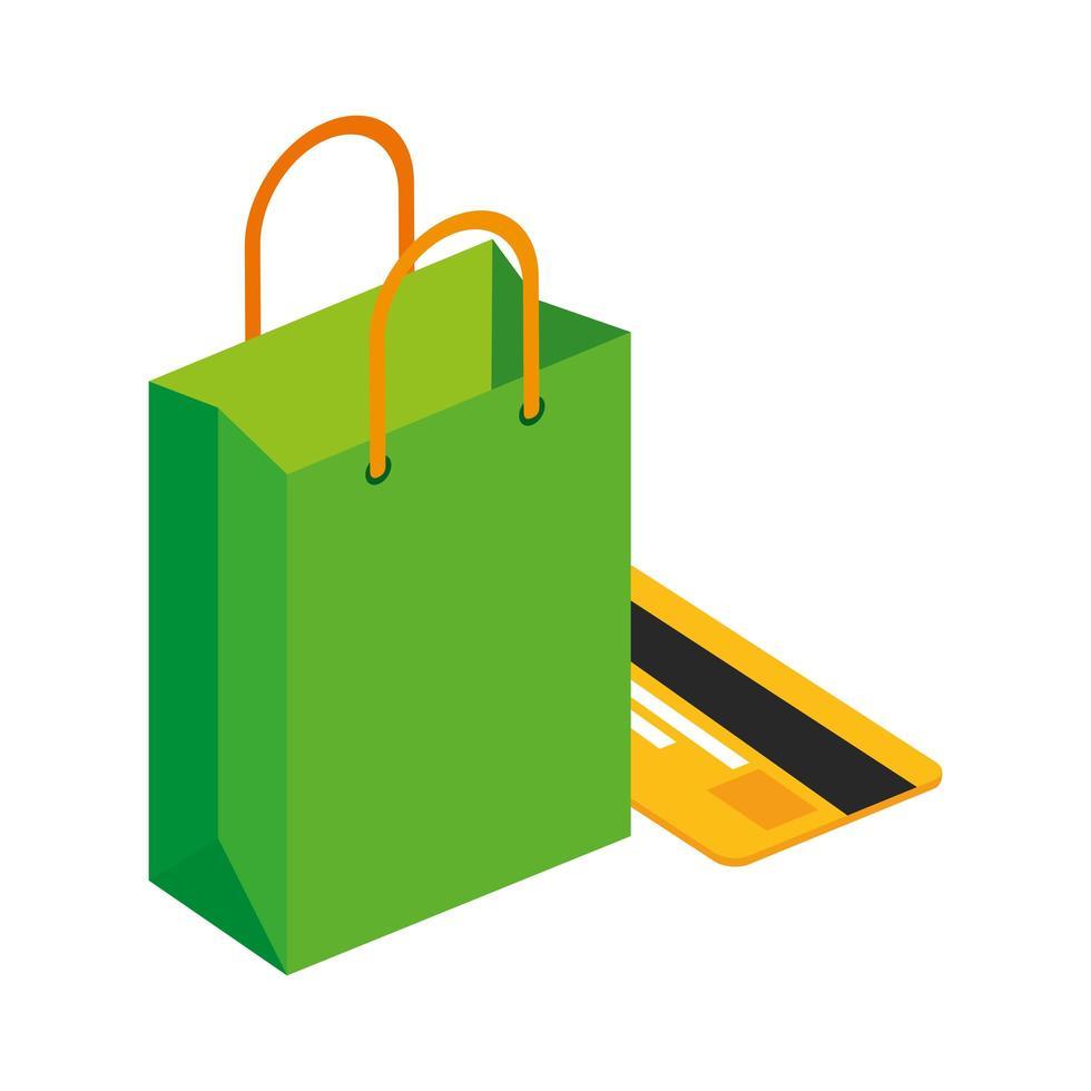sac shopping avec icône isolé de carte de crédit vecteur