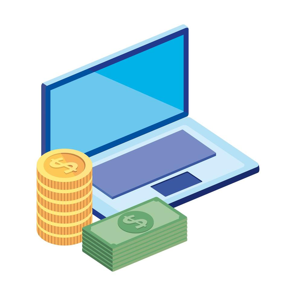 empiler des factures avec un ordinateur portable et des pièces de monnaie vecteur