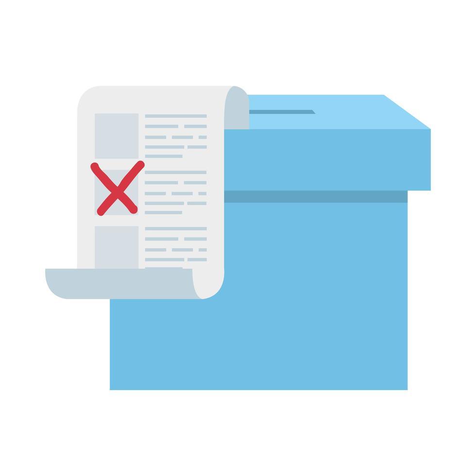 Urne avec icône isolé de formulaire de vote vecteur