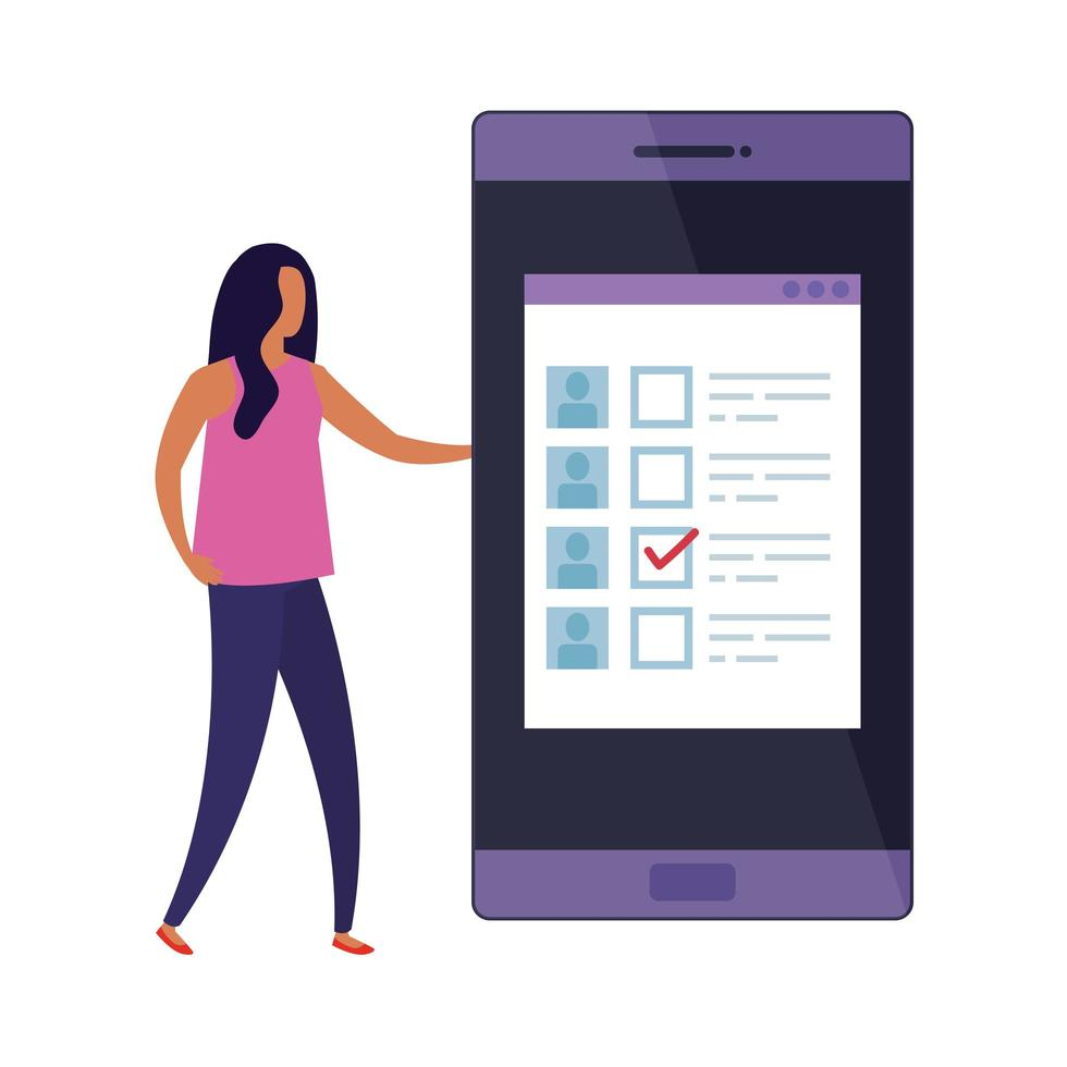 femme d & # 39; affaires avec smartphone pour voter en ligne vecteur