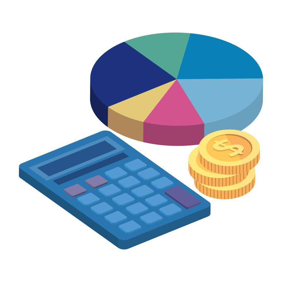 statistique circulaire avec calculatrice et pile de pièces vecteur