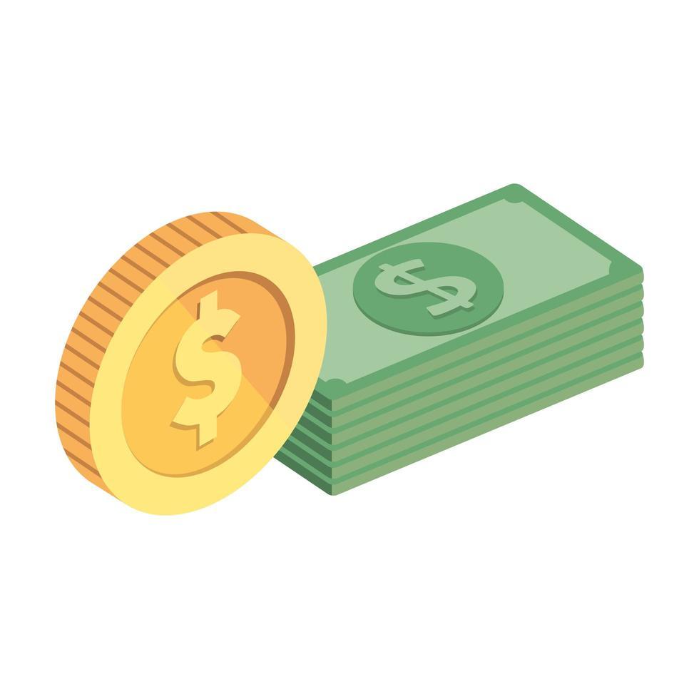 pile de billets avec icône isolé de pièces de monnaie vecteur