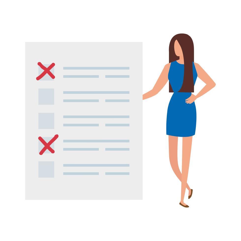 femme d & # 39; affaires avec icône isolé de formulaire de vote vecteur