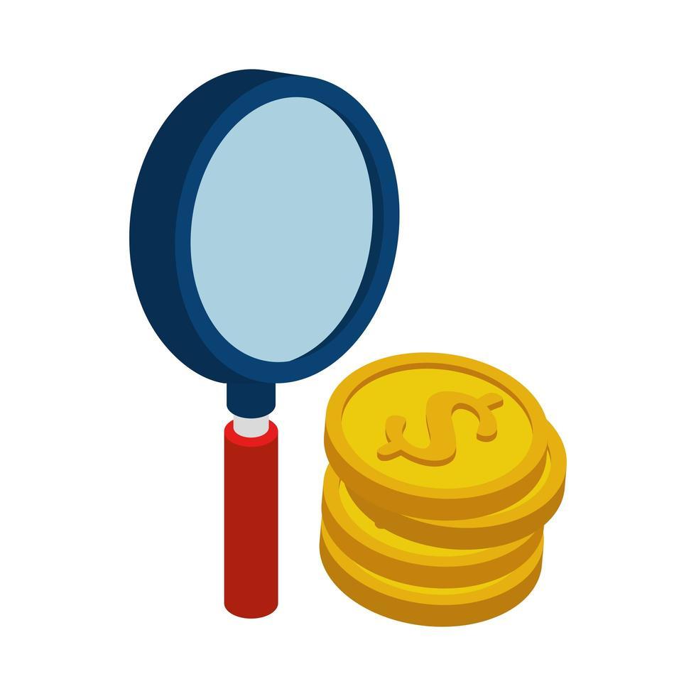 Tas de pièces avec icône isolé en forme de loupe vecteur