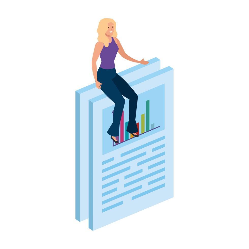 femme assise dans un document avec infographie vecteur